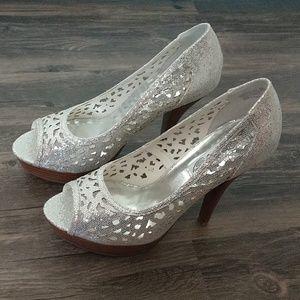 Naughty Monkey silver heels